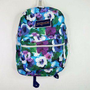 Jansport Floral Blue Purple Backpack Bookbag Bag